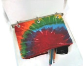 Binder Pencil Case Tie Dye Pencil Pouch for 3 Ring Binder Back to School Supplies Ready to Ship Kids Gift Organizer Rainbow Colorful