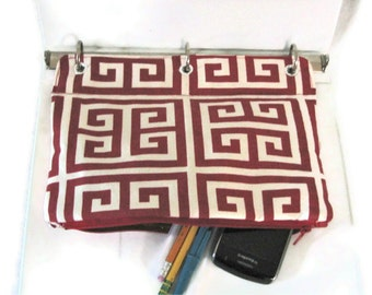 Binder Pencil Case Red Geometric Pencil Pouch for 3 Ring Binder Greek Key Ready to Ship Back To School Supplies Kids Gift Organizer