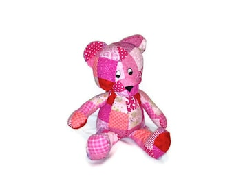 BEAR Stuffed Animal Toy Patchwork Pink and Red - Perfect for a Baby Shower - Ready to Ship baby girl kids valentines day