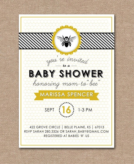 printable baby shower invitation baby shower bee theme