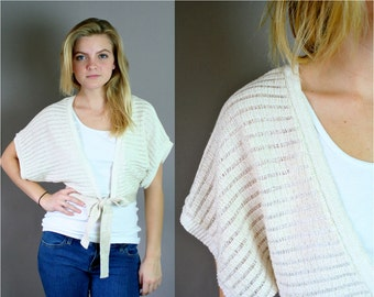 Vintage 80s Gold Cropped Tie Front Sweater