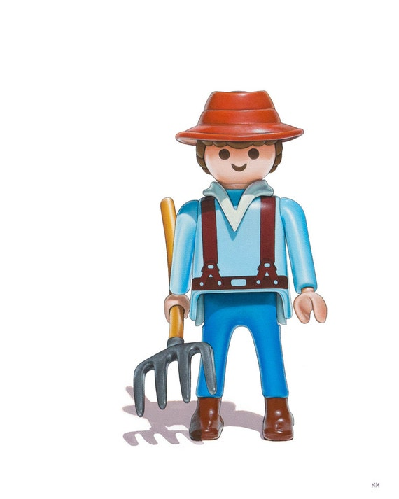 Nursery Art Print Playmobil Farmer Art Toy Farmer Print