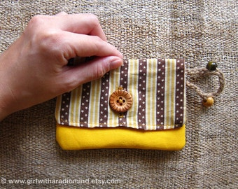 Cute Yellow Purse in Star and Stripe, Brown and Yellow - Superhero Indie Small Card Holder