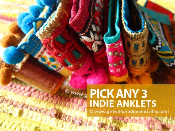 Set of 3 Anklets / Cuff Bracelets - Colorful, Bohemian, Gypsy, Navajo, Ethnic, Tribal, African, Folk  Styles with Pompom