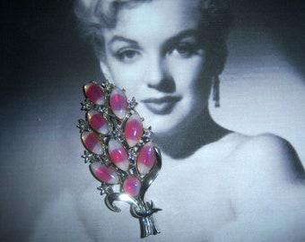 Pink Givre Open Back Art Glass a/k/a Givre Brooch
