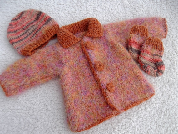 Clearance. Multicolored Baby Set. 0 - 3 months. Hand Knit Mohair Baby Coat Hat Booties Set. Knit Wool Baby Set.
