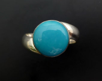 Handmade Sterling Silver and Blue Turquoise Ring - Simple Style Blue Turquoise Ring - Minimalist Ring -  Made to Order