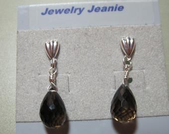 Smoky Quartz Briolette, Sterling Silver Earrings  ES586