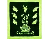 Patch - Goat Heads and Cauldron  - on Hand Dyed Yellow Canvas - Occult - 420 - Metal - Black Metal - Stoner