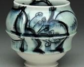 Handmade Porcelain Cup: Aqua (Blue Green) Cup with Black Floral Design