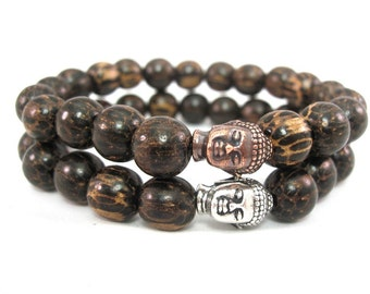 Set of Two Palmwood Wrist Malas with Pouch, Buddha Bracelets, Prayer, Spiritual, Meditation, 10mm beads, Yoga, Mens, Fashion,