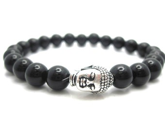 Black Onyx Buddha Energy Bracelet with Pouch, Protection, Prayer, Spiritual, Zen, Buddha, Meditation,