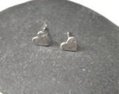 Sterling Silver Heart Stud Earrings - Reserved for Karen