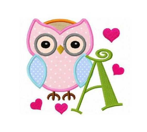 Set of owl love applique font letters machine embroidery