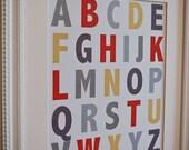 Instant Download: Digital 8x10 nursery print ABCs alphabet in Neutral colors