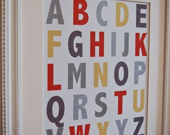 Instant Download: Digital 8x10 nursery print ABCs alphabet in Neutral colors
