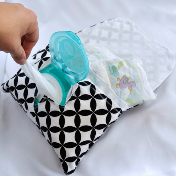 Diaper and Wipe Clutch in Black and White Diamond Eye