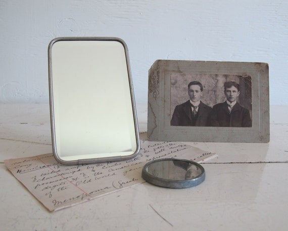 Antique Gentleman's Shaving and Pocket Mirrors, Set of Two
