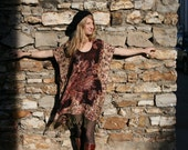 Gypsy Kaftan Dress Tunic with Fringe Boho Style One Size - Black Oxblood Metallic PASHMINA - Floral Print