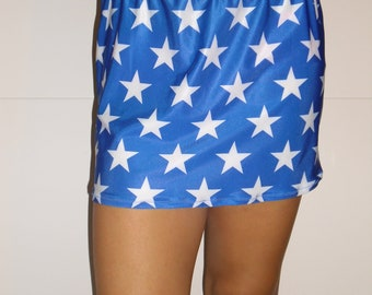 Blue with white stars spandex mini skirt with priority shipping