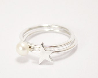 FREE SHIPPING-the little star and the pearl ring-sterling silver-made to order