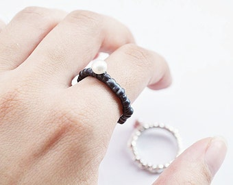 free shipping-amorph ring with pearl-sterling silver-made to order