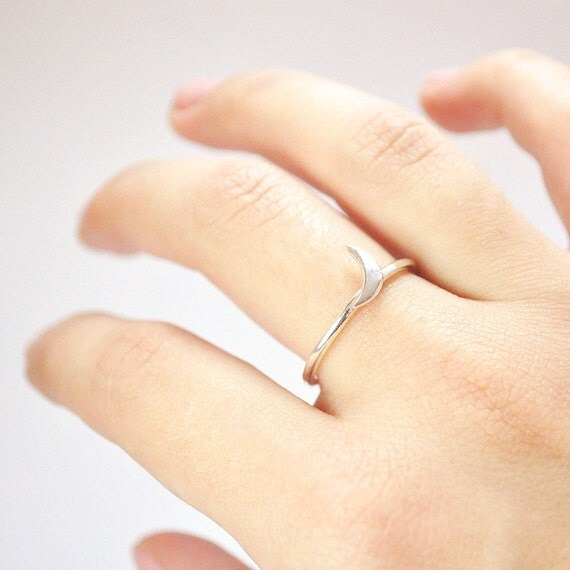 FREE SHIPPING-little moon ring-sterling silver- made to order