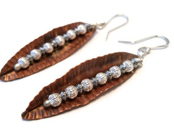 Copper Jewelry Fall Leaf Earrings Fold Formed Long Dangle with Sterling Silver beads Ear Wires