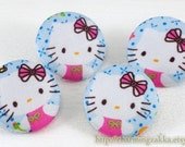 Fabric Covered Buttons (L) - Sweet Pink Hello Kitty Wearing Beautiful Bows (4Pcs, 1.1 Inch)