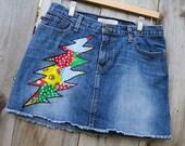 Grateful Dead Skirt Upcycled Denim Mini Skirt Grateful Dead Bolt