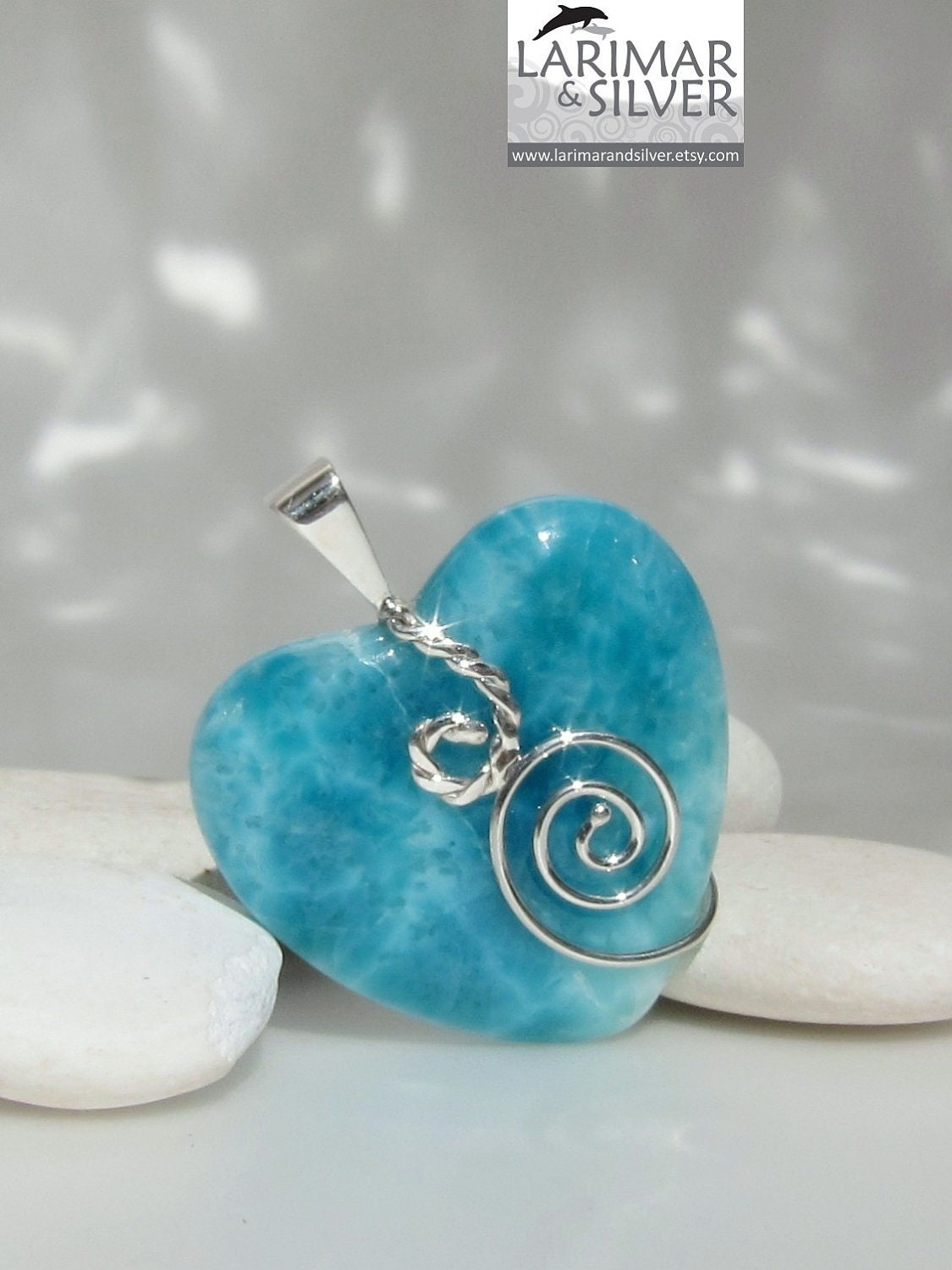 Larimar Heart Pendant Swirling Teal Beautiful Caribbean Sea