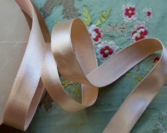 one yard rayon satin grograin flapper lingerie ribbon peach shade lush sturdy trim