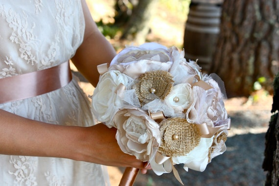 Special Order for Felicity--Wedding Organza Bridal Bouquet in Ivory, Champagne, and Caramel Brown with Burlap