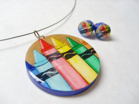 Teacher Appreciation Gift Set  - Crayon Necklace and Stud Earrings, Hand Painted Wooden Jewelry