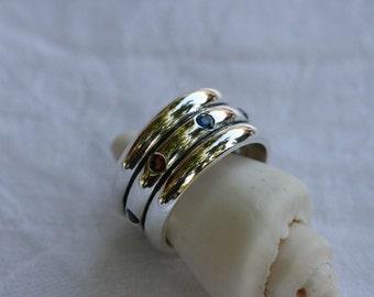 Silver Ring, Mix Stones Ring, Handmade Band,Sterling Silver Ring, Designed Ring, Silver Jewelry, Birthstone Ring,