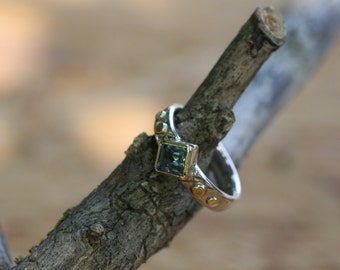 Aquamarine  Ring, Handmade Sterling Silver Ring, Silver and Gold  Ring