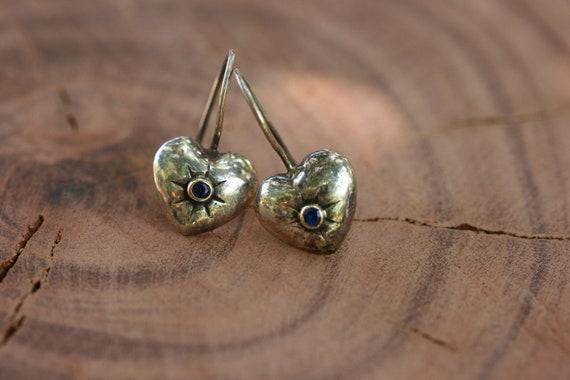 Heart Earrings, Sapphire Earrings, Silver Earrings,  Earrings, Handmade 925 Silver Earrings