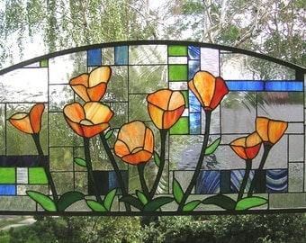 """Eight California Poppies over Geometric--17.5"""" x 35"""" Arched Stained Glass Window Panel"""