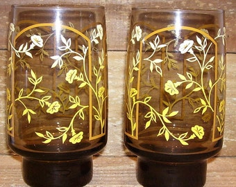 Drinking Glasses - 2 Matching Brown with Yellow & White Floral -   BEAUTIFUL