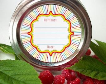 Rainbow canning jar labels, round mason jar labels for fruit and vegetable preservation, jam jelly jar labels, colorful kitchen labels