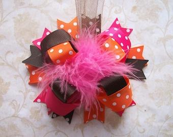 Fall Hair Bow, Colorful Hair Ribbon, Custom Baby Hairbow, Ribbon Hair Clip, Baby Hair Bow Clip, Pink Brown Orange Bow