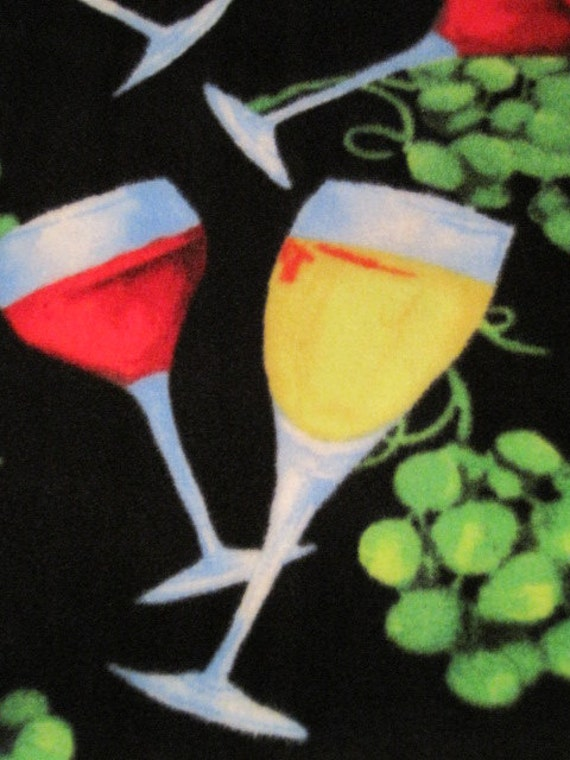 Wine Glasses and Grapes on Black with Red Fleece Blanket