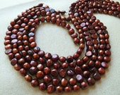 Full Strand - Cranberry Nugget Pearls - 7mm to 8mm