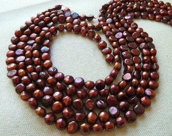 Cranberry Nugget Pearls - 7mm to 8mm - Full Strand