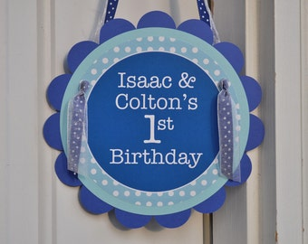 Happy 1st Birthday Party Door Sign - Dark Blue and Light Blue Polkadot - Personalized Party Decorations
