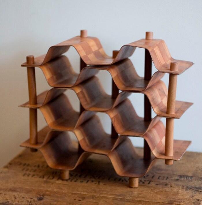 Vintage Mid Century Modern Danish Wood Honeycomb Wine Rack