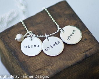 Three Names Hand Stamped Jewelry Personalized Sterling Silver Necklace