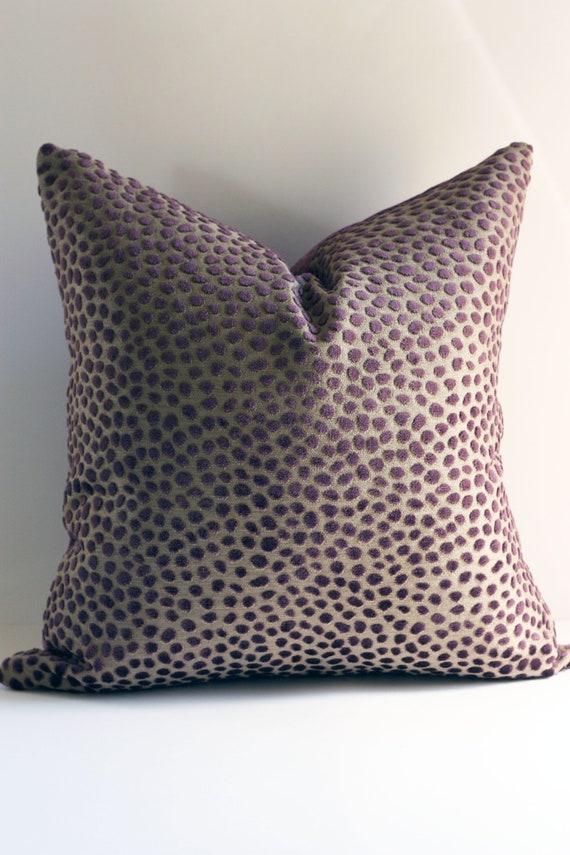 Plum Velvet Dots Pillow Cover / 18x18 Lee Jofa Design