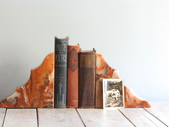 vintage mid century marble bookends