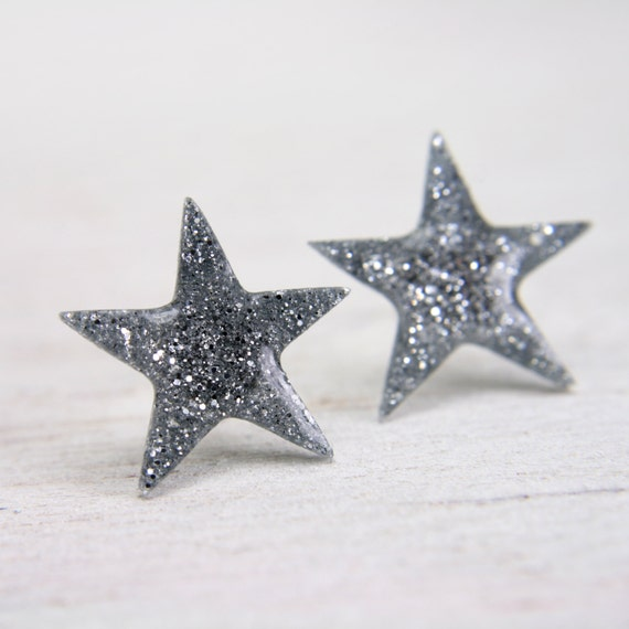 star post earrings in sparkly silver - sparkly post earrings - silver glitter stud